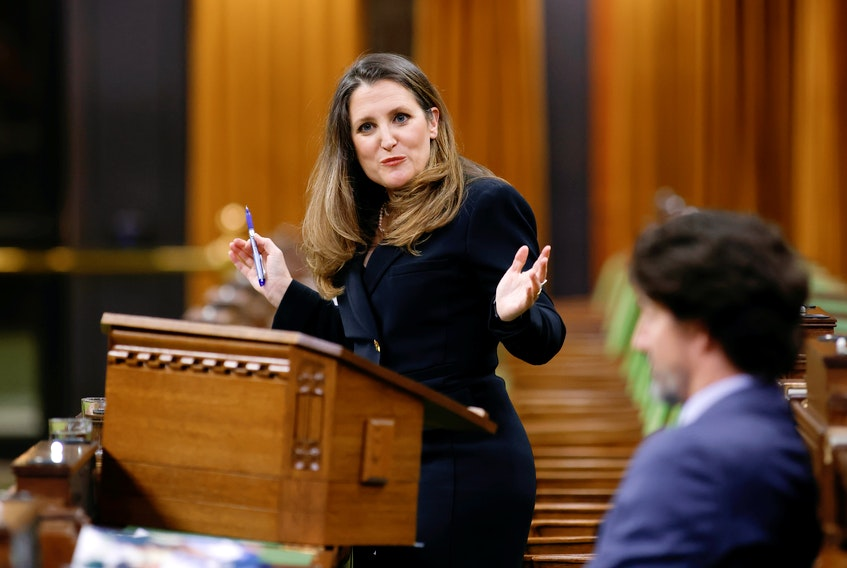 Finance Minister Chrystia Freeland delivers the budget in the House of Commons in Ottawa on Monday. REUTERS/Blair Gable