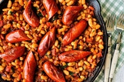 Grilled Smokies and Easy Baked Beans