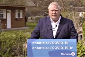 Premier Doug Ford said Thursday in a virtual press conference while self-isolating he has ordered his team to come up with a new plan to cover sick days for people who are ill during the COVID-19 pandemic after his government originally declined to pursue the coverage. Screengrab photo