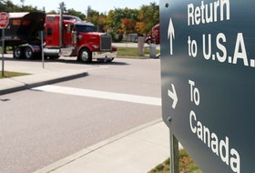 A truck leaves the Canada-United States border crossing at the Thousand Islands Bridge on Sept. 28, 2020.