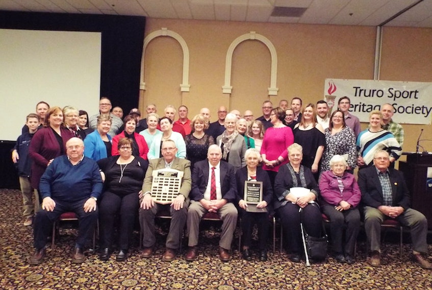 The Matheson family was the recipient of the Dave Armstrong Memorial Sporting Family Award during the 2018 annual Truro Sport Heritage Society Awards Dinner. Front row, from left, Vaughan (Gab) Matheson, Chris (Matheson) Bernard, Hugh Matheson, Win Matheson, Edna Graham, Letha Mowatt, Lynn Matheson and John Matheson. Second row, fourth from left, Judy Matheson, Sarah Matheson and Ruth Matheson.