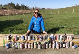 MADD Yarmouth President Candice Phibbs launched Sober Up Your Ditches challenge after she hit the roads surrounding her home and collected 74 liquor cans and bottles over several days. CONTRIBUTED PHOTO