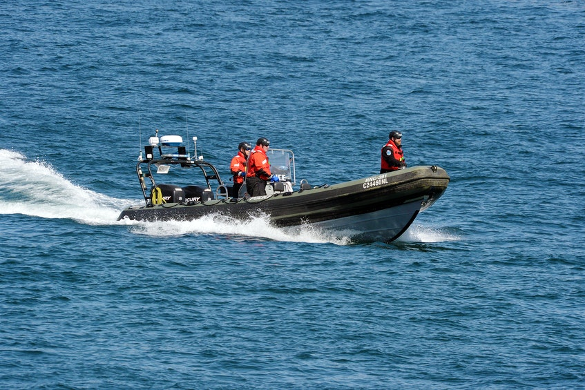 The Royal Newfoundland Constabulary deployed its fast-rescue craft in the search for a man in the waters off Flatrock Thursday morning. - Keith Gosse/The Telegram