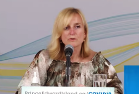 Dr. Heather Morrison announces one new case of COVID-19 in P.E.I. during a briefing April 22, 2021.