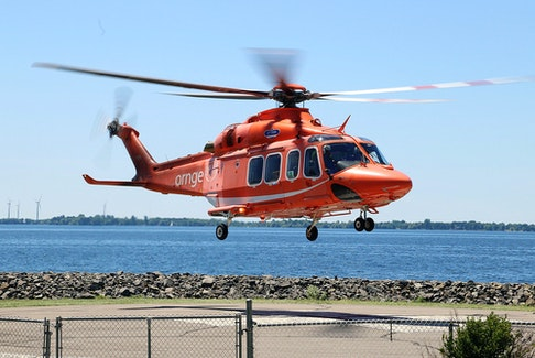 An Ornge helicopter air ambulance takes off from the helicopter pad at the Kingston Health Sciences Centre.