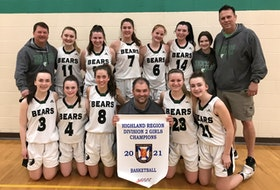 The Breton Education Centre Bears of New Waterford captured the Nova Scotia School Athletic Federation Division 2 girls basketball championship earlier this month. The Bears defeated the Strait Area Education Recreation Centre Saints of Port Hawkesbury 76-14 at BEC gym. From left, front row, Maria Morrison, Hannah Barry, Chloe MacPherson, Jason Hogan (coach), Rebecca Campbell and Catie Chiasson; back row, Ron Carew (coach), Meghan MacKinnon, Kelsie Neville, Emmy Donovan, Courtney Kelly, Gerrylynn Donovan, Madison Oliver and Doug MacKinnon (coach). CONTRIBUTED • DOUG MACKINNON