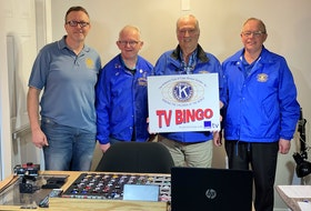 The Kiwanis of Cape Breton Golden K Club is celebrating its 28th year of partnership with Eastlink Community TV and its television bingo is still on the go with games broadcast on Wednesdays from 6-7 p.m. on Eastlink's Channel 10. So far in 2021, the partnership's TV bingo has raised more than $25,000. Loaves and Fishes, Every Woman's Centre, Ally Centre, Community Homeless Shelter and Transition House each received a $3,000 donation this year, while $10,000 was recently donated to Hospice Cape Breton. From left, Kiwanis Golden K/Eastlink TV bingo committee members include bingo caller KJ MacDonald, control operator Paul Young, past president Ernie Request and current president John Ryan. CONTRIBUTED