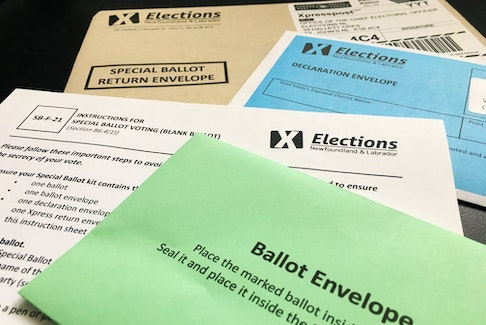 The mail-out ballot kit seen during this past winter's provincial election in Newfoundland and Labrador. SaltWire Network file photo