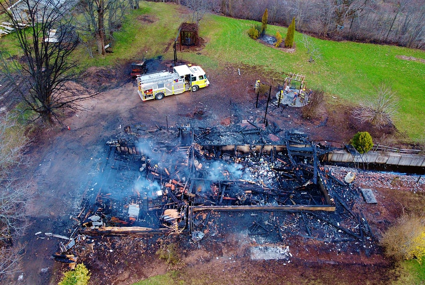 Strong winds caused a fire that destroyed a large farmhouse on Charles Keddy Road in Lakeville on April 21 to extend beyond the initial structure. – Adrian Johnstone