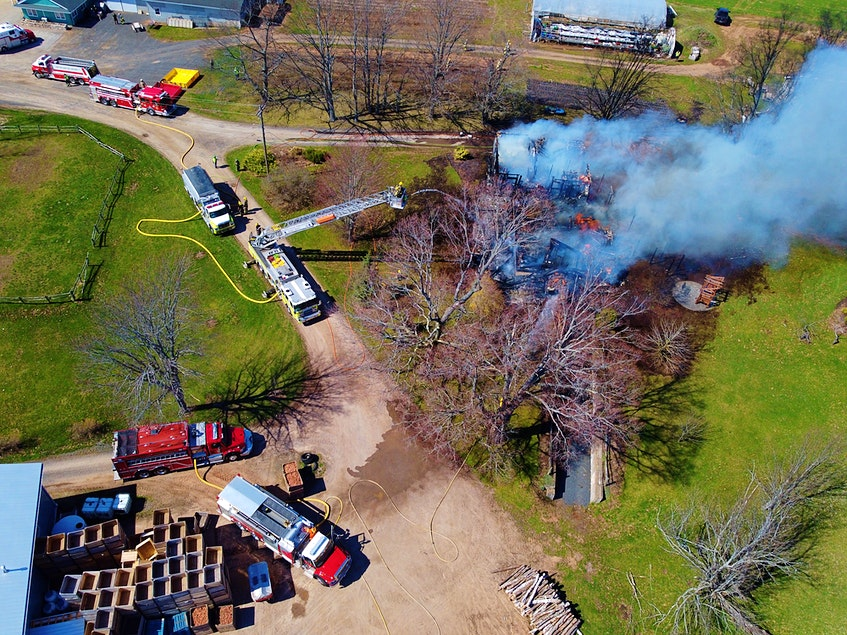 Several Kings County fire departments worked together to extinguish the blaze that levelled a large farmhouse on this Lakeville property. Responding crews were contending with strong winds that fanned the flames. – Adrian Johnstone - Contributed