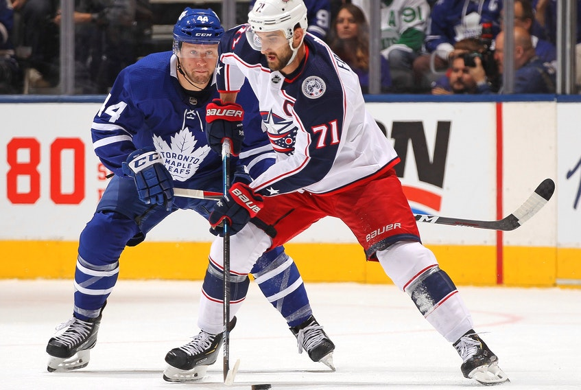 New Maple Leafs winger Nick Foligno in his days with Columbus.