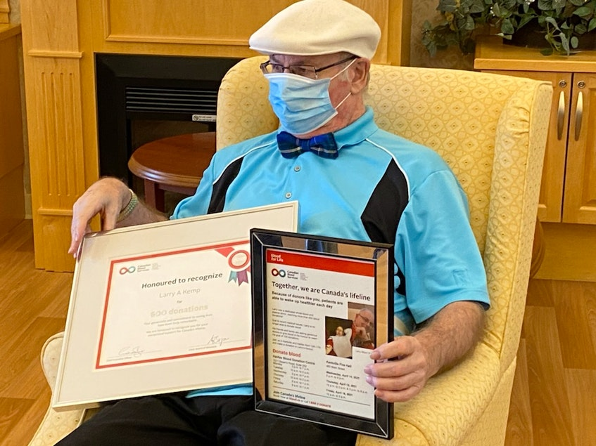 Larry Kemp of Kentville was recently honoured by Canadian Blood Services for making more than 600 donations. The 74-year-old started giving blood in high school, and he made the switch to plasma about 20 years ago. - Contributed