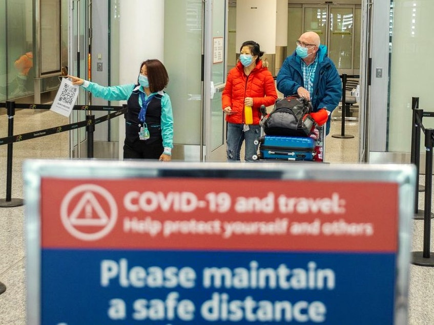 Foreign travellers continue to be banned from entering Canada, save for a few exceptions. In this photo, travellers from an international flight are directed to the COVID-19 testing area at Toronto Pearson International Airport in Mississauga, February 24, 2021. - Carlos Osorio/Reuters