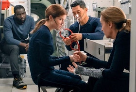 From left, Shamier Anderson, Anna Kendrick, Daniel Dae Kim and Toni Collette in Stowaway.
