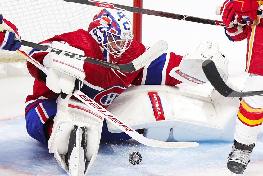 Goaltender Jake Allen is 8-8-4 with a 2.54 goals-against average and a .912 save percentage this season for the Canadiens.