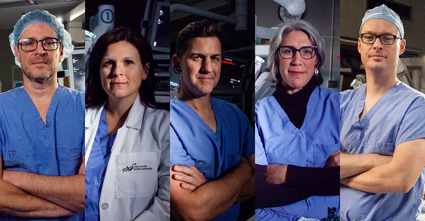 From left to right: The QEII's Dr. Ricardo Rendon, Dr. Stephanie Scott, Dr. Greg Bailly, Dr. Katharina Kieser and Dr. Ross Mason are among the physicians who contributed to the QEII Foundation's surgical robotics campaign. - Photo Courtesy QEII Foundation.