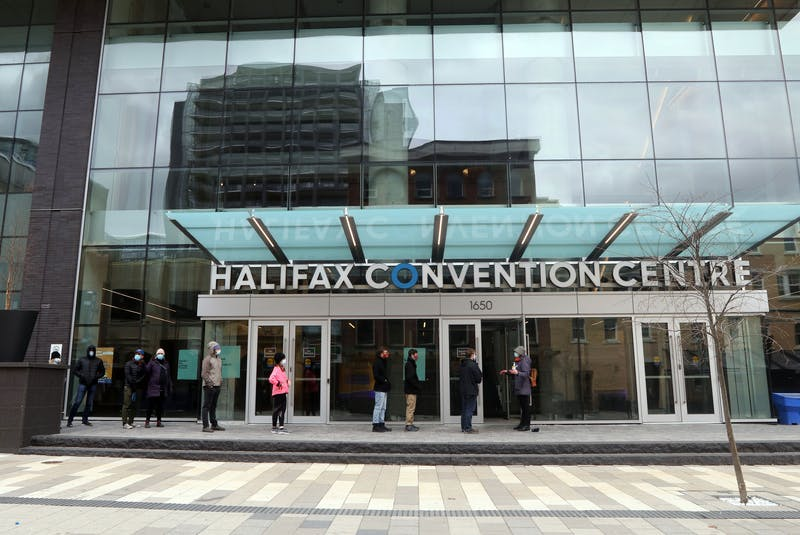 Asymptomatic testing at the Halifax Convention Centre started along Market Street and wrapped around Sackville to the Argyle Street entrance Friday. There will be another rapid pop-up testing site at the Dartmouth North Community Centre on Saturday and one at the East Dartmouth Community Centre on Sunday. - ERIC WYNNE/CHRONICLE HERALD