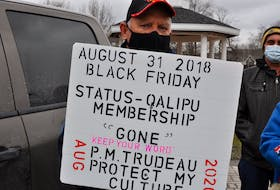 Joseph Gallant travelled from South Branch to Corner Brook to take part in a demonstration outside the Qalipu First Nation office on Church Street Friday. Gallant, who was a founding member of the band, is one of thousands who had their membership in the band revoked.