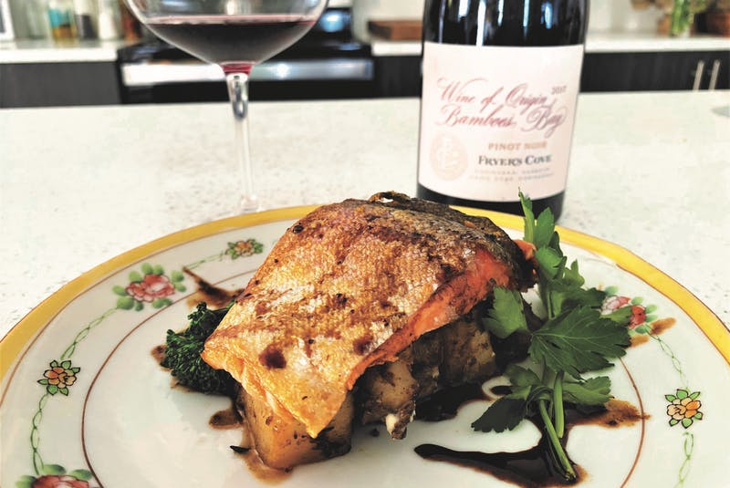 Mark DeWolf recommends serving trout paired with a savoury pinot noir such as one from the coastal regions of South Africa.  - Julia Webb