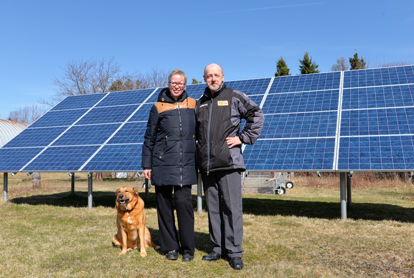 Sabine and Michael Schoenknecht, owners of the Lucky Bee Homestead and Atlantic Mustard Mill in Murray Harbour North have been using solar energy since 2014. Also in this photo is their dog, Kurt.