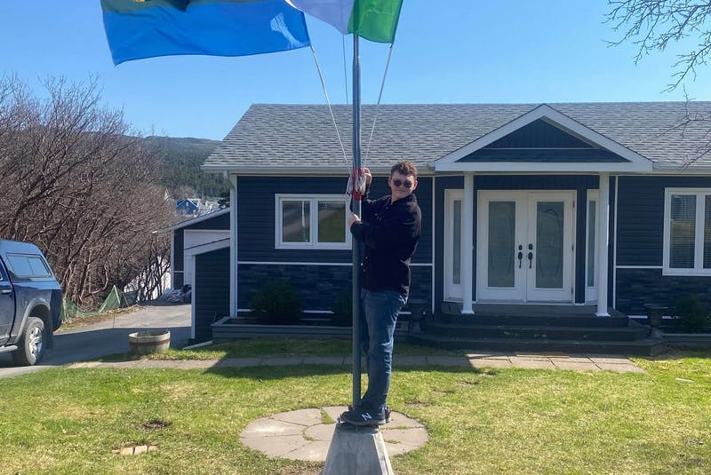 Flying the Labrador, the Newfoundland Tricolour and the Town of Marystown's flags.  Contributed  - Contributed