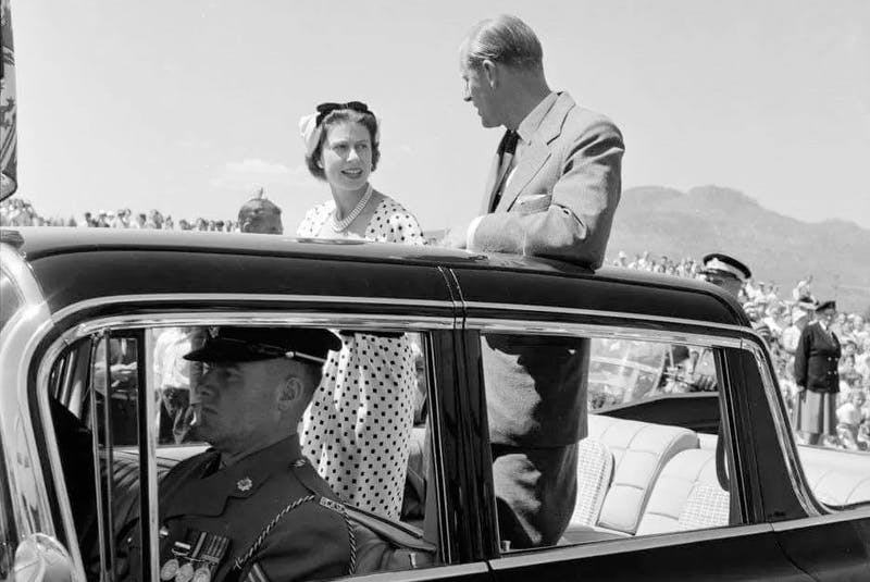 Queen Elizabeth II and Prince Philip on their 1959 Royal Tour through Canada. Courtesy of the Jean-Michel Roux collection - POSTMEDIA
