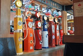 A row of restored gas pumps in the Gasoline Alley collection at Heritage Park are now considered works of art, and will be used to discuss a variety of restoration techniques during the museum's From Rust to Glory presentation until the end of April.  Greg Williams/Postmedia News