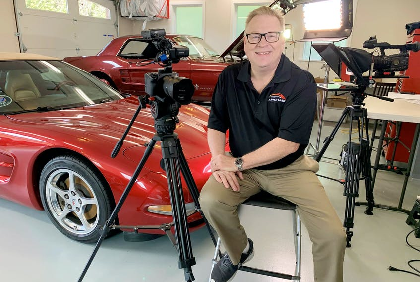 """Bruce Hitchen with his video gear ready to roll out videos for his """"Center Lane"""" Youtube channel. Alyn Edwards/Postmedia News"""