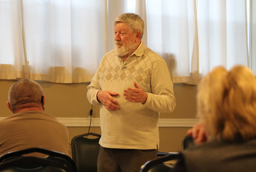 Local heritage advocate George Dalton speaking in front of a small group of people who gathered at the Summerside Legion on Wednesday, April 21. They are exploring the possibility of organizing a heritage advocacy group for Summerside.