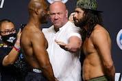 Apr 23, 2021; Jacksonville, Florida, USA; UFC president Dana White (white shirt) stands between Kamaru Usman (L) and Jorge Masvidal (R) during weigh-ins for UFC 261 at VyStar Veterans Memorial Arena. Mandatory Credit: Jasen Vinlove-USA TODAY Sports ORG XMIT: IMAGN-451002