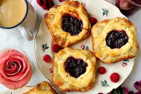 Rhubarb raspberry vanilla cream cheese danishes