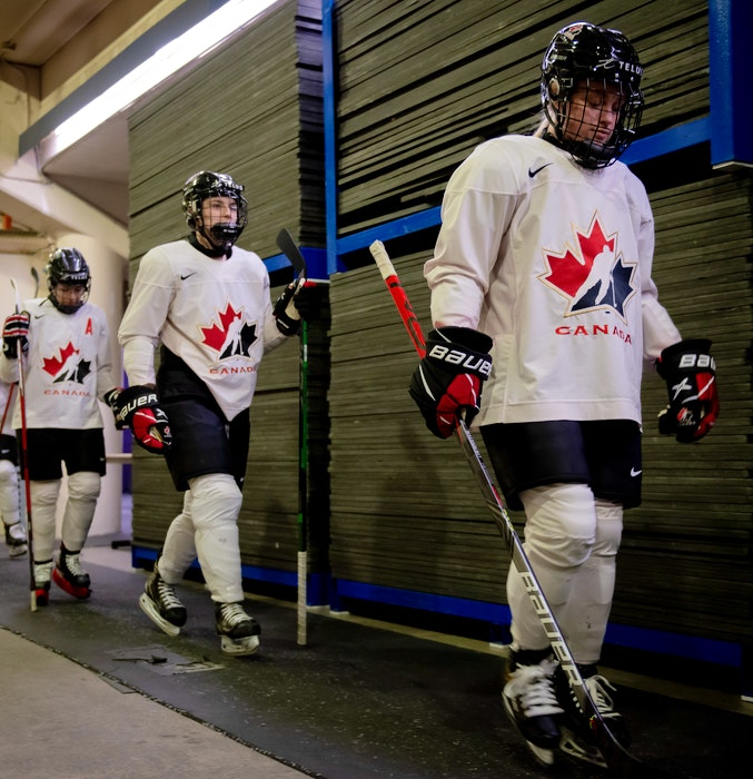 Team Canada players head to the ice at Scotiabank Centre for a scrimmage during the national team's selection camp for the women's world championship last Tuesday. - Hockey Canada Images