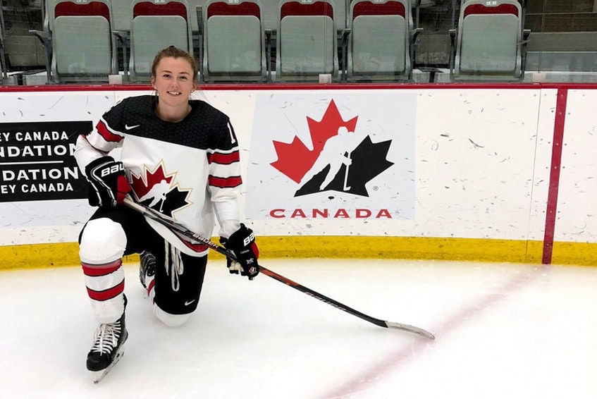 Allie Munroe, a blue-liner from Yarmouth, was one of 47 players at the Team Canada selection camp for the women's world hockey championship. Nova Scotia Premier Iain Rankin abruptly cancelled next month's international tournament on Thursday. - Hockey Canada Images
