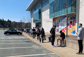 People lined up to get COVID-19 testing at the Canada Games Centre in Clayton Park on Sunday, April 25, 2021. There has been a big response to urging from public health to get tested amid community spread of the virus, including the more aggressive variants.