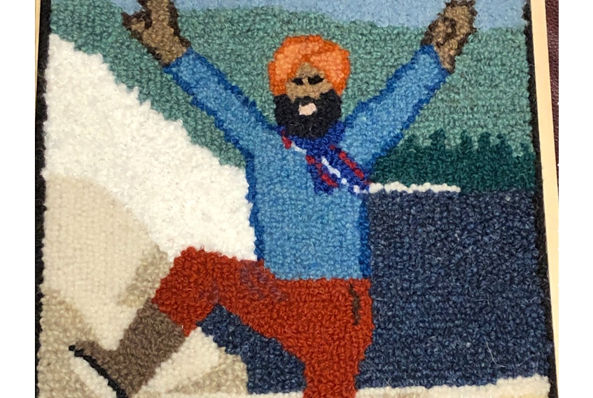 Sonya Corbin Dwyer of Corner Brook used a photo to create this rug hooking of Gurdeep Pandher. Pandher, who lives in the Yukon, shares positivity on social media through bhangra dancing. Corbin Dwyer sent him the finished piece as a gift. (Photo Courtesy of Sonya Corbin Dwyer.)