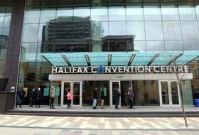 The lineup for asymptomatic testing at the Halifax Convention Centre started along Market Street, near Carmichael Friday.