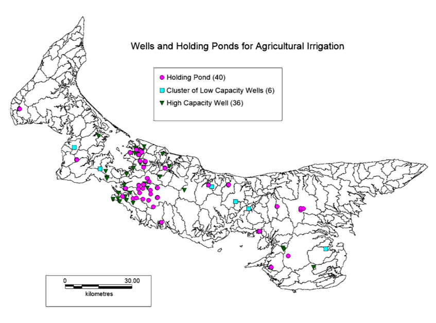 A map of holding ponds and high capacity wells in P.E.I., prepared by the Department of Environment, Energy and Climate Action. - SUBMITTED