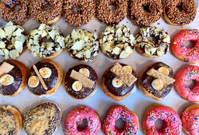 A selection of treats from Burchie's Gourmet Donuts. Pictured are the flavours chocolate Skor chip, chip 'n' dip, s'mores, blueberry cheesecake and classic pink sprinkle, chef Alexandria Nash said.