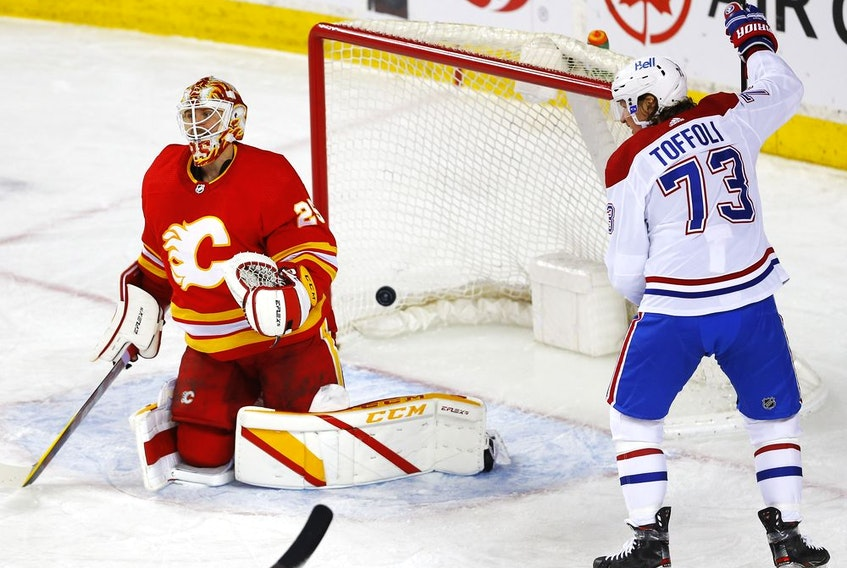 Calgary Flames goalie Jacob Markstrom is scored on by Montreal Canadiens Shea Weber in first period NHL action at the Scotiabank Saddledome in Calgary on Monday, April 26, 2021. Darren Makowichuk/Postmedia