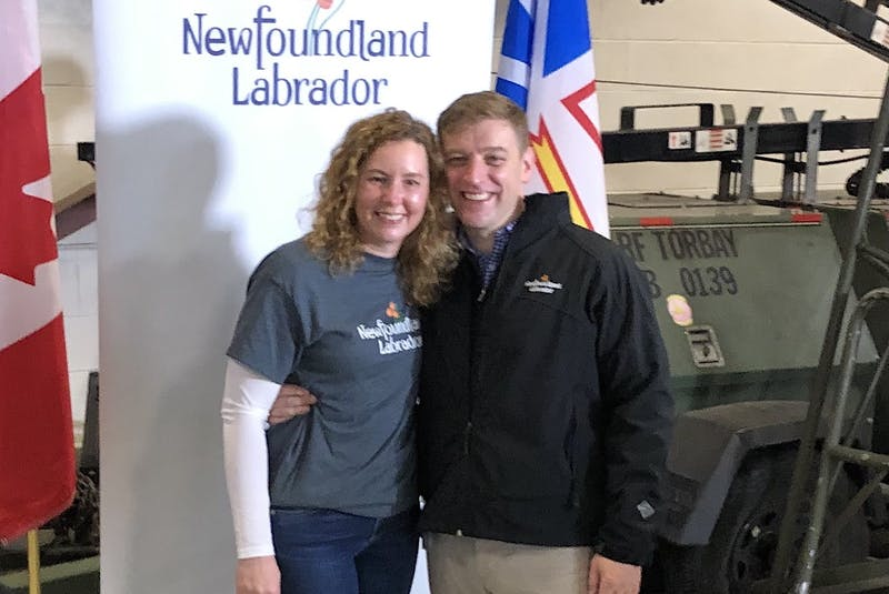Premier Andrew Furey and Dr. Allison Furey pose for a photo shortly before Allison joined a medical relief team flying to Ontario Tuesday morning. - Peter Jackson