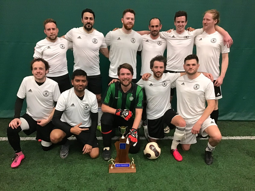 Receiver Coffee F.C. recently won the second division of the P.E.I. Indoor Soccer League. They defeated Atlantic Business Federation F.C. 3-1 in the final. Team members, front row, from left, are David Woodside, Imam Hossain, Fraser MacCallum, Alex Moore and Ethan McInnis. Second row, Mitch Hammill, Fadi Mrish, Greg Furlong, Joe Downham, Tanner Beer and Ryan Cheverie. Missing from photo are Angus MacPhail and Jace Wichers. - Contributed