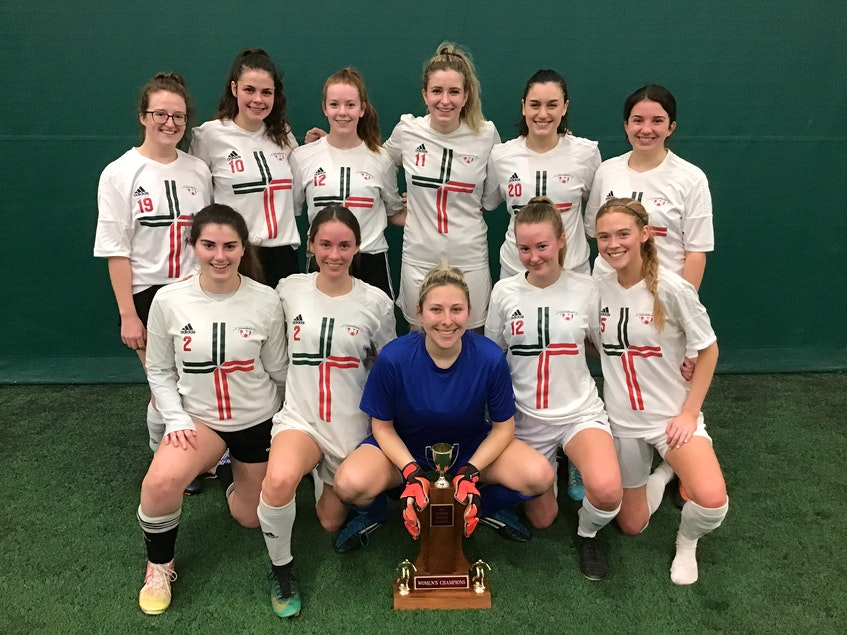 Stratford recently won the third division of the P.E.I. Indoor Soccer League. They defeated the Divas 2-1 in the final. Team members, front row, from left, are Melissa Weeks, Jaelyn MacKinnon, Sam MacAdam, Maria Mullally and Madison Doiron. Second row, Kiera Mayhew, Kate Doiron, Reghan Gosse, Nicolle Derry, Karley Hartinger and Allison Weatherbie. Missing from photo are Taylor Stevenson and Cheyenne Vessey. - Contributed