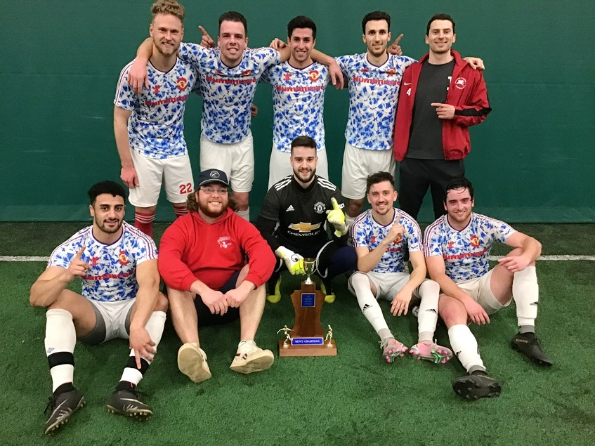 Sharktooth Shooters F.C. recently won the first division of the P.E.I. Indoor Soccer League. They defeated F.C. MOZZI Total 10 3-1 in penalty kicks in the final. Team members, front row, from left, are Mohammed Jaber, Kyle Larusic, Brett Strba, Sam Smiley and Jake Deighan. Second row, Nathan J. Ford, Lucas Ross, Ignacio Sanchez, Noah Bitar and Charlie Hunter. Missing from photo is Liam Doiron. - Contributed
