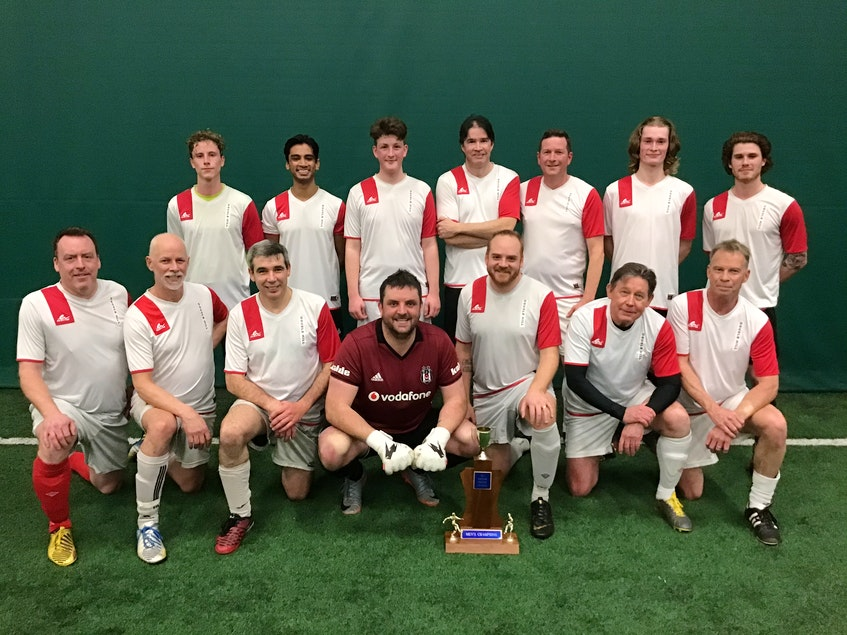 The Double Hill Nomads recently won the third division of the P.E.I. Indoor Soccer League. They defeated Spud Connection 5-3 in the final. Team members, front row, from left, are Jamie MacKinnon, Mark Carr-Rollitt, Marcelo Martinez, Kieran Goodwin, Matt Manuel, Paul Evoy and Marcus Lutterman. Second row, Mathurin Carr-Rollitt, Gayan Tennekone, Sam MacKinnon, Matt O'Brien, Todd Miller, Connor Reardon and James Richardson. - Contributed