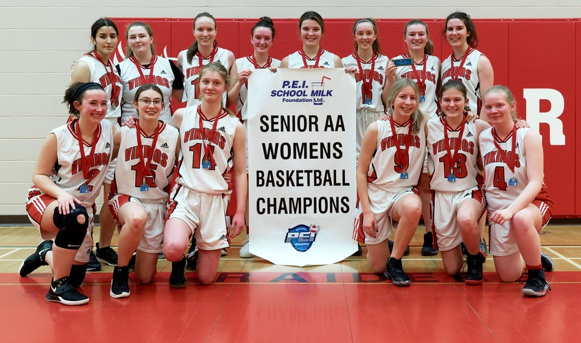 The Montague Regional High School Vikings recently won the Domino's Prince Edward Island School Athletic Association senior AA girls basketball championship. They defeated Charlottetown Rural Team Two 67-47 in the final while Westisle Team One beat Bluefield Team Two 60-43 in the bronze medal game. Members of the Vikings team, front row, from left, are Skye MacNeill, Gabrielle Billard, Karyss MacDonald, Bella VanColen, Kara Campbell and Janelle Perry. Second row, Marcia Ferraz, Morgan MacNeill, Carrie Docherty, Erin Morris, Maggie Murphy, Kenzy Hawkins, Lauren King and Kathleen Ryan. Missing from photo are coaches Duane Yoshikawa, Sue Yoshikawa, Jay Shaw and Abby Hameline. - Rudi's Sports and Event Photography • Special to The Guardian