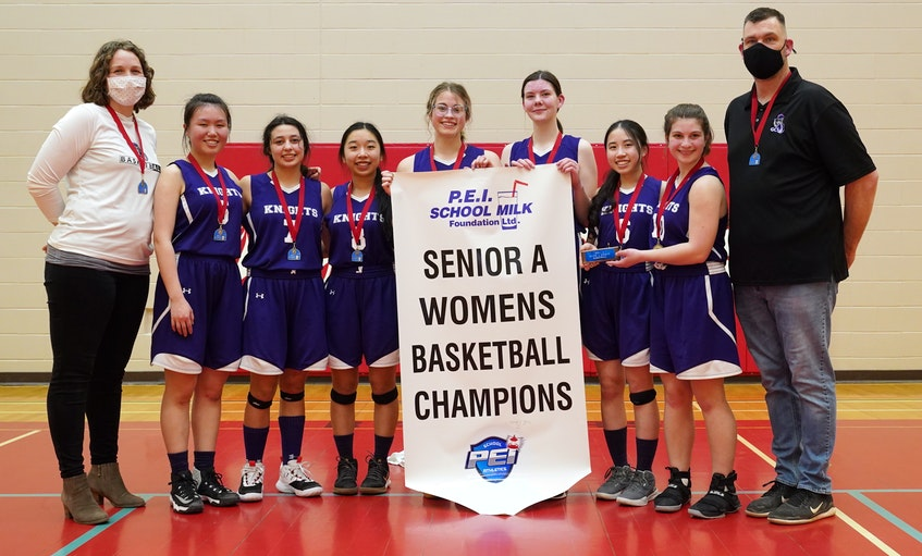 The Grace Christian School Knights recently won the Domino's Prince Edward Island School Athletic Association senior A girls basketball championship. They defeated Morell 36-35 in the final while Kensington beat Westisle Team Two 52-34 in the bronze medal game. Members of the Knights team, from left, are coach Jennifer de Boer, Linda Huo, Christianne Riveroll, Emily Chong, Anna Paquet, Brianna Rancourt, Ashley Chong, Robyn Baglole and coach David Rancourt.  - Rudi's Sports and Event Photography • Special to The Guardian