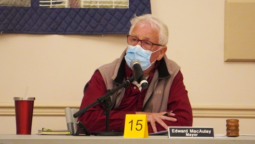 Three Rivers Mayor Edward MacAulay spoke during a committees of council meeting at Kings Playhouse in Georgetown on April 26. - Daniel Brown • Local Journalism Initiative Reporter