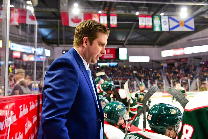 Sylvain Favreau instructs members of the Halifax Mooseheads during his time as an assistant coach.