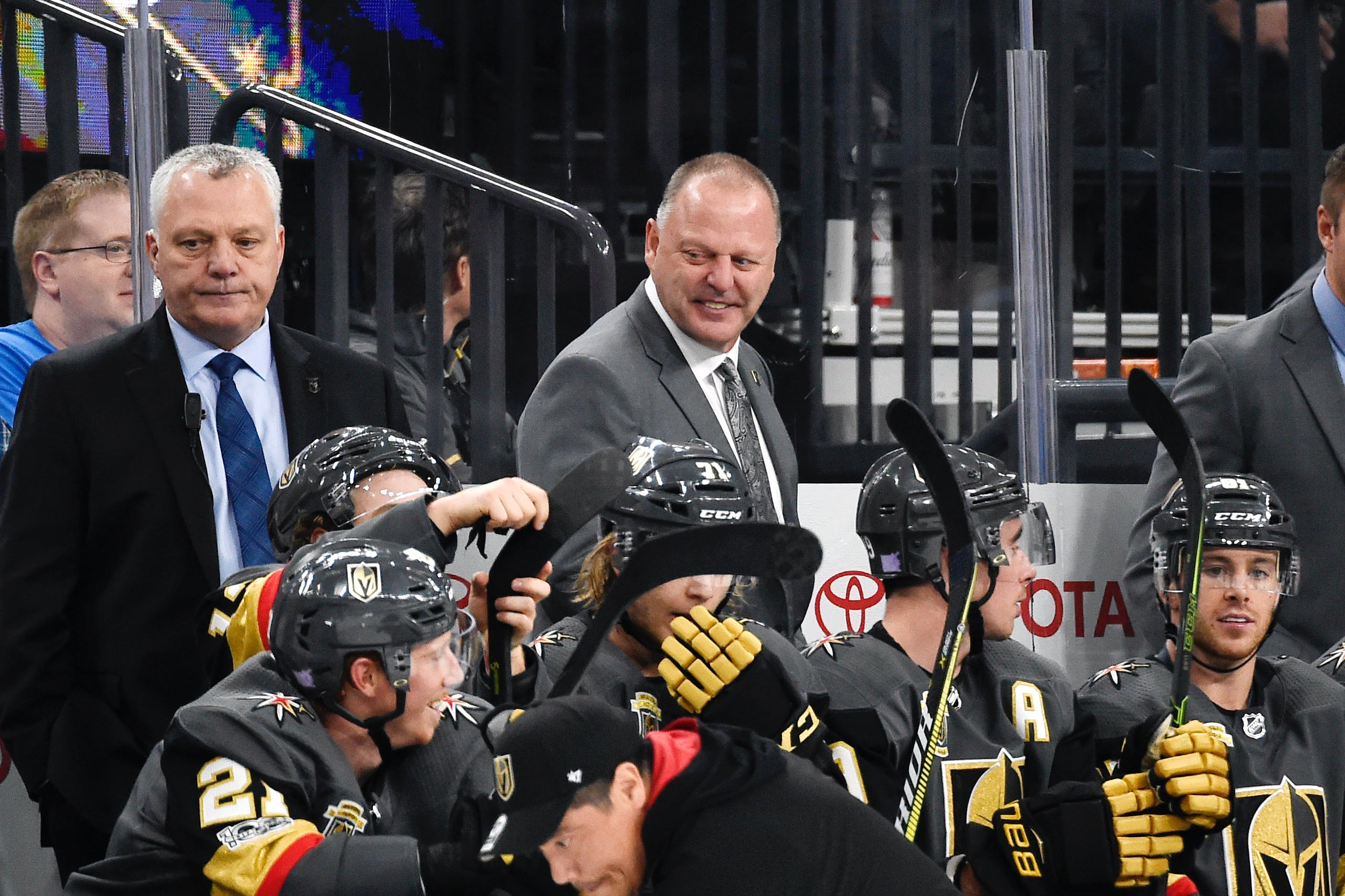Photo Courtesy Vegas Golden Knights Mike Kelly, left, and Gerard (Turk) Gallant behind the bench of the Vegas Golden Knights. Gallant, who was head coach, and Kelly, an assistant coach, were with the National Hockey League team from 2017 to 2020.