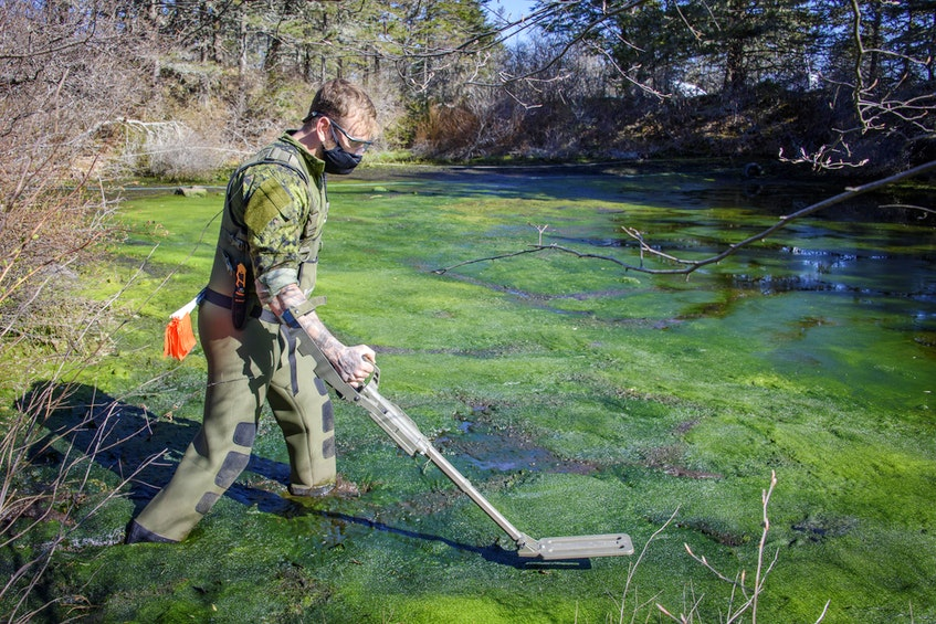 The pond in Chebogue, Yarmouth County, was surveyed for other ordnances. None were found. PHOTO: Master Corporal Ian Thompson, Canadian Armed Forces